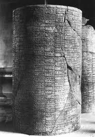 cilindro di terracotta rinvenuto in Mesopotamia