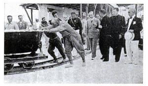 Gerarchi fascisti in visita alla Miniera di Bentonite