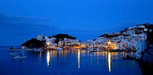 ponza il porto di sera