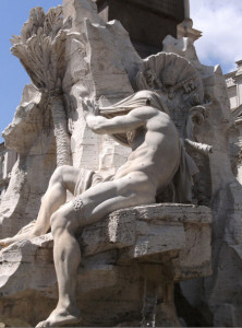 Bernini. Fontana dei 4 Fiumi. Il Nilo