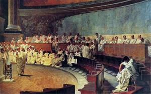 Cesare Maccari. Cicerone denuncia Catilina (1889). Affresco a Palazzo Madama