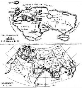 Confronto delle mappe di Eratostene e Strabone con quella di Tolomeo