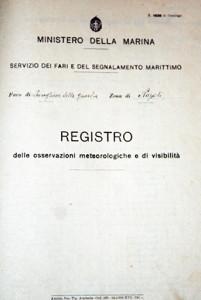 Registro delle osservazioni metereologiche e di visibilità - Faro della Guardia