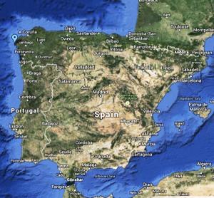 Google Map. Finisterre. Santiago de Compostela. OK