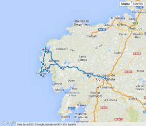 Google map. Santiago Fisterra e Muxìa