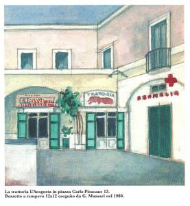 Ristorante L'Aragosta. Tempera di G. Massari 1981