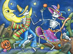 Sarabanda di scheletri in una illustrazione per Halloween