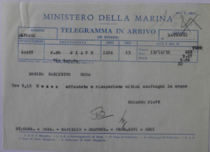 2. Telegramma 13.12.31. Affondamento