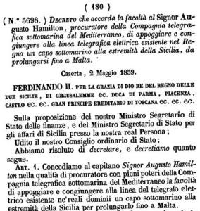 Decreto Telegrafo sottomarino Sicilia- Malta