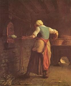 Jean François Millet. Donna che inforna il pane. 1854