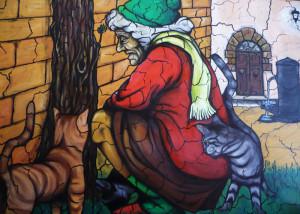 La Gattara. Dipinto a olio di Lamberto Paris