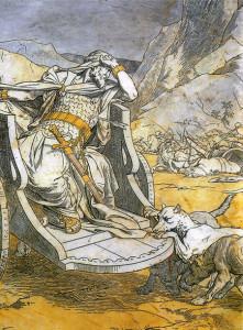 Morte di Achab. Alessandro Franchi. Pavimento Duomo di Siena