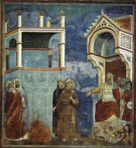 Giotto di Bondone. La legenda di S. Francesco. 11. San Francesco davanti al Sultano. La prova del fuoco. Tra il 1297 e il 1300