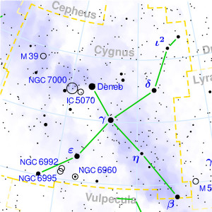 Mappa della costellazione del Cigno