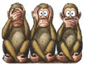 Tre scimmiette. Colour
