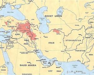 Aree con presenza curda in Medio Oriente.1986.1