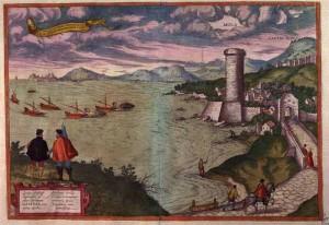 Golfo di Gaeta. Torre di Mola e galee in partenza per la Terrasanta