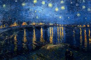 Notte-stellata-sul-Rodano. Van Gogh.1888