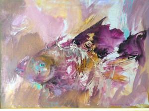 Pesce. Dipinto a olio di Gianni Ambrogio