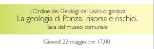Intestaz. locandina. La geologia di Ponza. Risorsa e rischio