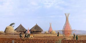 Villaggio africano con strutture Warka