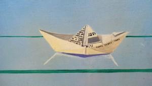 Laura Cristin - Wonderbookcase- acrilico su legno, 1994