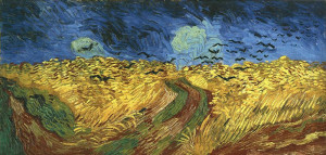 Campo di grano con corvi