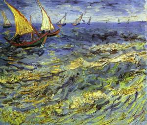 Vincent-van-Gogh. Barche di pescatori sul mare.1881