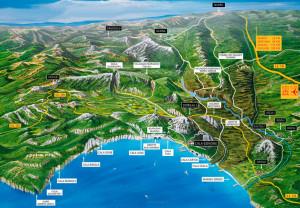 Cartina panoramica del Golfo di Orosei