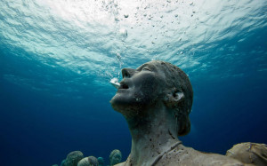 Silent scream from underwater Museum of Cancun