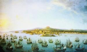 Antonio Joli. La partenza di Carlo di Borbone per la Spagna vista dal mare. 1759