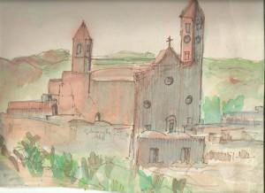 Un disegno dell'Autore della chiesa con due campanili (1978)