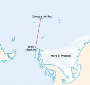 Mappa dell'itinerario di Schackleton
