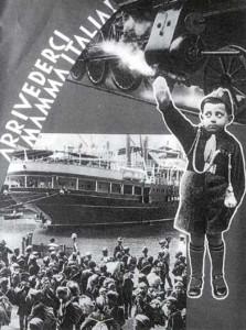 Italia-Balilla.. Un manifesto fotomontaggio di propaganda fascista.