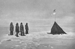 Da sinistra: Amundsen Hanssen Hassel e Wisting al Polo Sud. La foto è stata scattata da Bjaaland