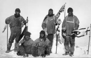 Il gruppo di Scott al Polo Sud. Da sinistra a destra Oates Bowers Evans Scott e Wilson