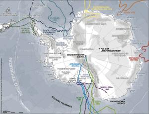 La mappa dell'Antartide. Rotte Spedizioni