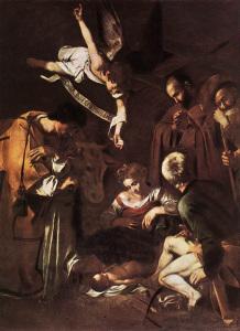 Caravaggio. Nativita_con_i_santi_Francesco_e_Lorenzo
