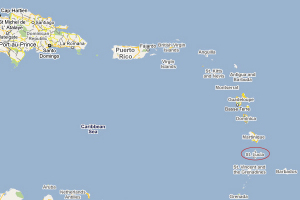 Isole dei Caraibi e Saint Lucia. Mappa