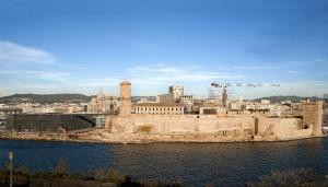 L'imbocco del Porto-canale e il MuCEM durante i lavori