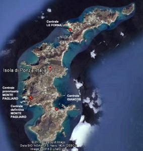 Dislocazione territoriale (indicativa) delle esistenti centrali elettriche di Ponza