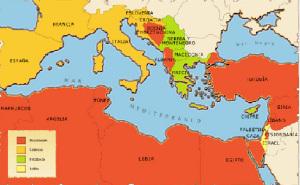 Mappa geo-politica e religiosa del Mediterraneo