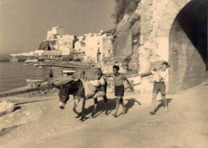 L'uscita dal grottone di S. Antonio prima delle banchine. Con asino