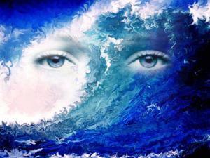 Occhi mare blu