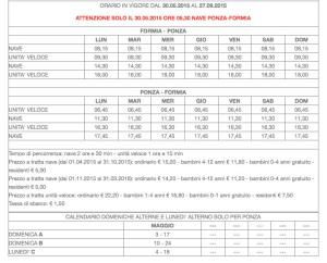 Ponza  Formia. Dal 30.05 al 27.09 2015