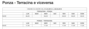 Ponza Terracina da 01.04 al 29.05.2015