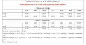Ponza Terracina dal 30.05 al 27.09.2015