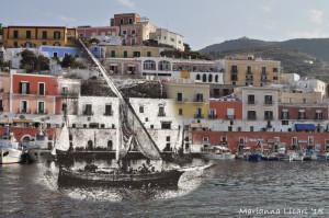 Il porto di Ponza. Fotocomposizione di Marianna Licari