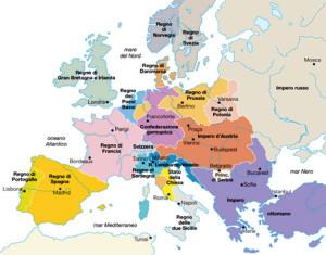 L'Europa disegnata dal Congresso di Vienna del 1815
