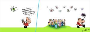 La vignetta di Bruno Bozzetto per il Roma Drone Expo Show 2015